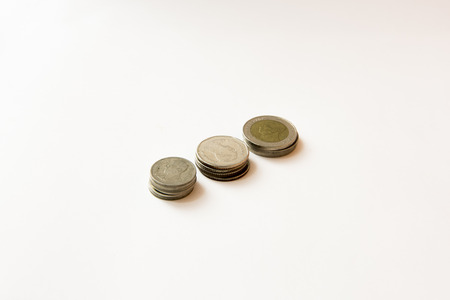 silver bullion: Coins isolated on white Stock Photo