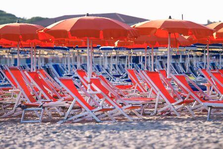 Beach in italian tirrenean coastline,Tuscany, Marina di Grosseto, Castiglione Della Pescaia, Italy. Stock Photo