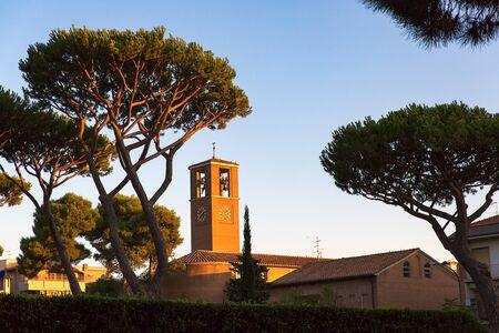 historical monuments street buildings,Tuscany, Marina di Grosseto, Castiglione Della Pescaia, Italy.