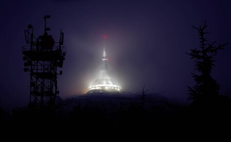 Jested lookout tower in night, transmitters, Liberec, Bohemia, Czech Republic.