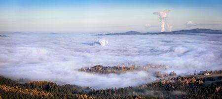 Sunrise over Liberec, view from viewpoint Cisarsky kamen, Jested mountain, Czech Republic. Reklamní fotografie