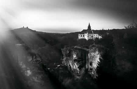 Castle Trosky and chateau Hruba Skala from Marianska vyhlidka Redakční
