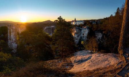 Castle Trosky and chateau Hruba Skala from Marianska vyhlidka.
