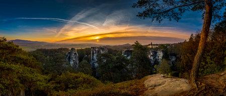 Castle Trosky and chateau Hruba Skala from Marianska vyhlidka. Redakční