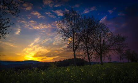 Wonderful sunset sunrise over landscape, the best photo