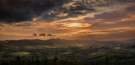 Sunrise and sunset over the city of Liberec, Czech republic. over Jested. View from the view Cisarsky kamen. The best photo.