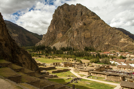 View of the Ollantaytambo ancient city, travel adventure in peru, cultural center, close to Machu Picchu