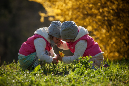 cute twin sisters, embrace on a background field with yellow flowers, happy cute and beautiful sisters having fun with yellow flowers in spring in park, cheerful holidays outdoors, healthy lifestyle