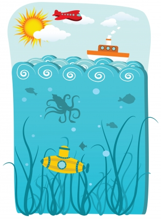 Sea and under water Vector
