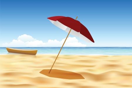 Ruhiger Strand mit Schiff