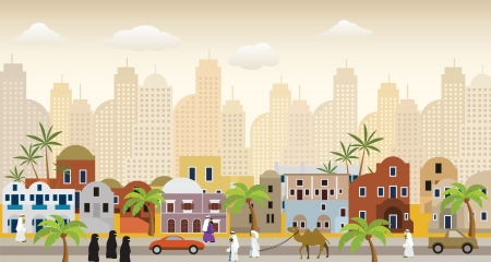 Oriental city illustration Vector
