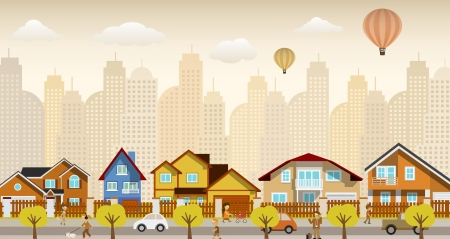 Flat city life  retro colors  Vector