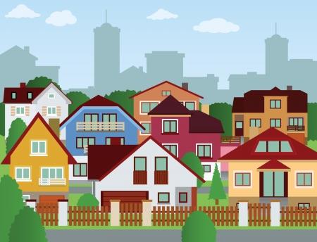 Suburban houses 向量圖像