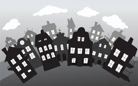 small town life: Village in the night Illustration