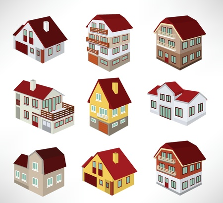 townhouses: Adosados ??en perspectiva Vectores