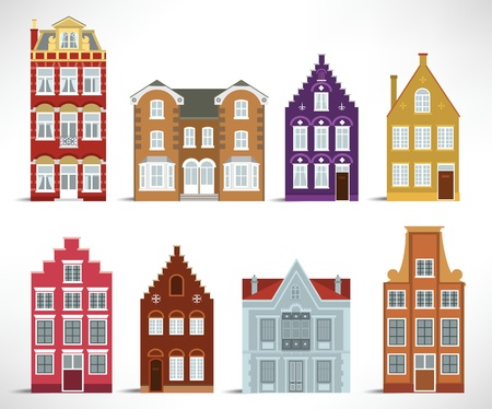 8 old houses Vector