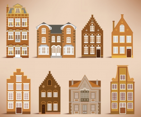 8 old houses  retro colors  Vector