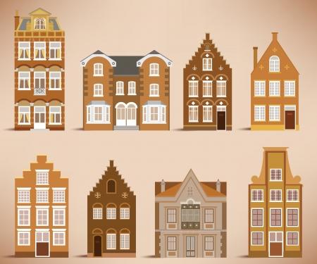 the netherlands: 8 oude huizen retro kleuren