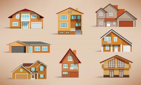 townhouses: Casas colores retro