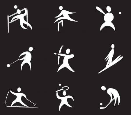 Summer and Winter Sports Icon Set Number 3  white  Vector
