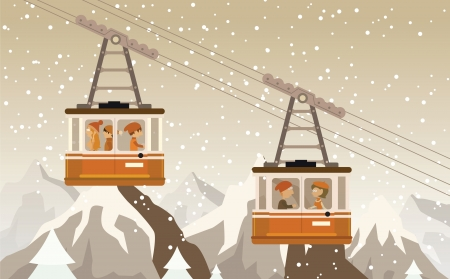 Cable railway in the mountains Illustration