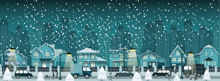 Night city in winter Vector