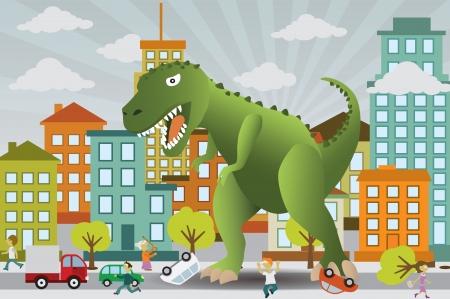suburban street: Dinosaur is attacking the city Illustration