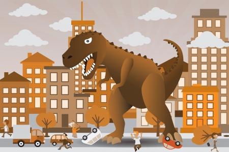 tiranosaurio rex: Dinosaur está atacando la ciudad