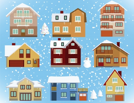snow covered: Snow covered city houses Illustration