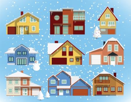 coberto de neve: A neve cobriu casas da cidade Ilustra��o