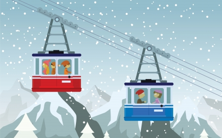 rope way: Cable railway in the mountains Illustration