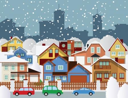 Winter in the city Vector