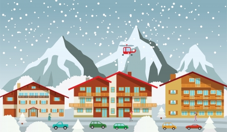 The tourist center in the Alps  winter  Stock Vector - 22610175