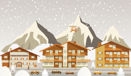 The tourist center in the Alps  winter  Stock Vector - 22610178