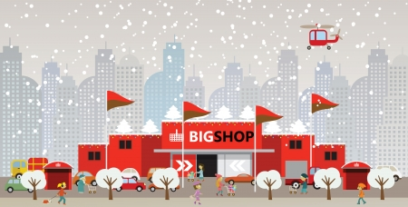 Shopping in the city  Christmas  Vector