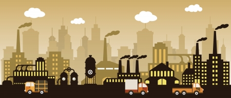 Factory in the city  retro colors  Vector