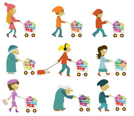 kerst markt: Mensen groep kerstinkopen