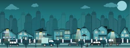 suburban street: Night city