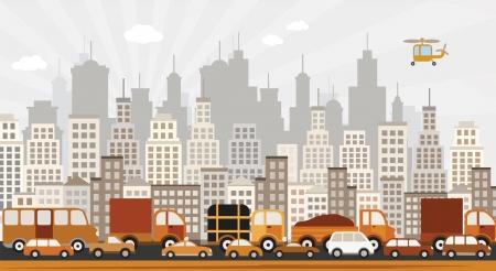 suburban street: Traffic jam in the city Illustration