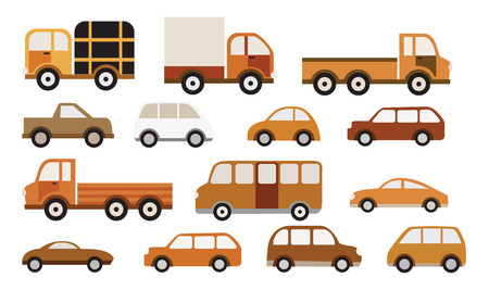 yellow car: Cars collection  retro colors  Illustration