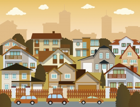 suburb: Suburban houses Illustration