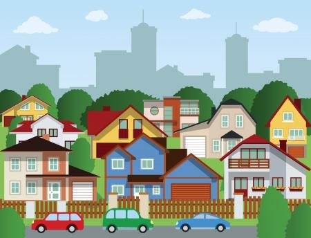 Suburban houses  summer  Illustration