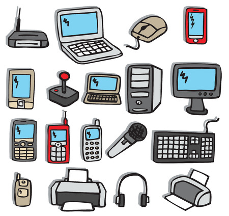 electronic components: Icons electronics 3  colors  Illustration