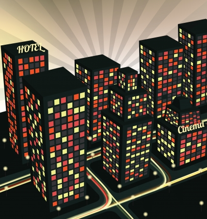 Night city in perspective Illustration