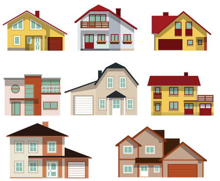 Collection of urban houses Stock Vector - 22785377