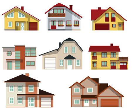 pensioen: Verzameling van stedelijke huizen Stock Illustratie