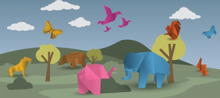 World of origami - animals Vector