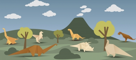 World of origami dinosaurs Vector