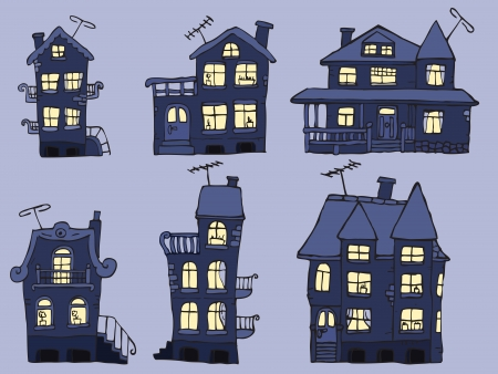 Houses in the night  blue colors  Vector