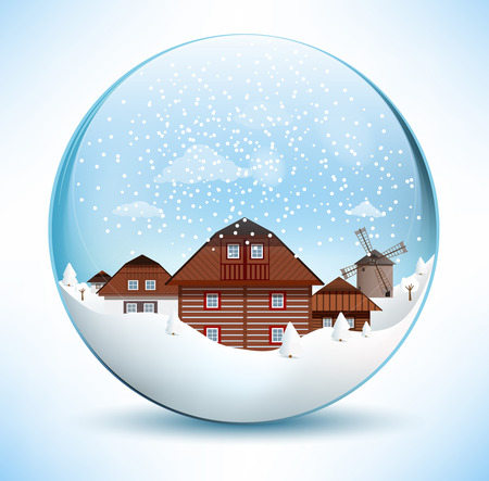 paperweight: Christmas Sphere - Old Village Illustration